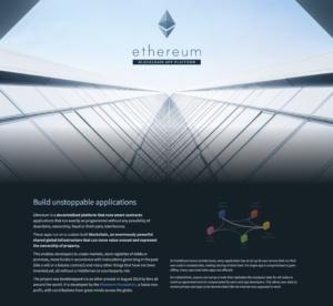 Screenshot Ethereum als Beispiel eines Blockchain Unternehmens