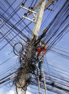 Elektrisches Kabelchaos